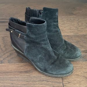 Cole Haan Black Suede Leather Wedge Ankle Booties
